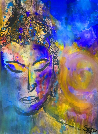 Buddha Watercolour Galaxy Yellow Blue