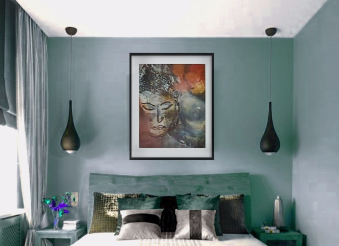 Buddha in black frame in Teal room