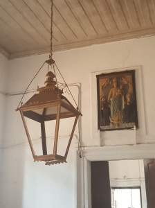 Church lamp and painting