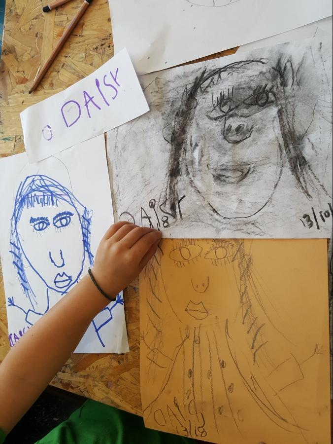 Daisy portrait Rosso art workshop