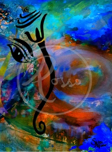 Ganesh Watercolour 2 Galaxy orange green Blue WATERMARK