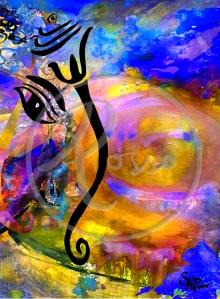 Ganesh Watercolour Galaxy Yellow Blue watermark